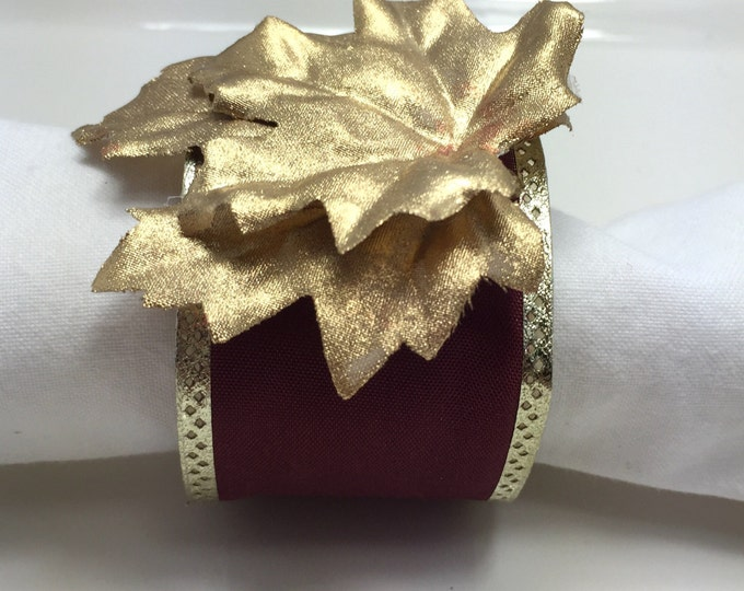Featured listing image: Golden Leaf Christmas Napkin Ring - Thanksgiving - Christmas - Holidays- Dinner Party