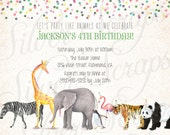 Watercolor Animal Parade and Confetti Custom Birthday Party Invitation - Zoo Painted Boy Girl Joint Twins Elephant Zebra Matching Back Side