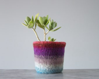 felted cactus or houseplant planter - plant pot with waterproof lining - textural planter -  stripes2 - colorful rainbow wool shades