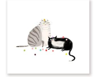 Cat Balls- Sunday Funday - Cat Print - New Cat Art - Modern Art