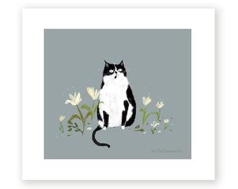 Nature Lover - Cat Painting - Garden Art - Tuxedo Cat in the Garden - Cat Print