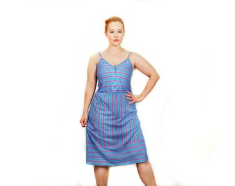 Rainbow Stripe 70s Vintage Sun Dress