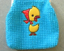 Vintage Beaded Purse, Child's Purse, Blue Beaded Purse, Plastic Beads, Plastic Duck, Child's Bag, Kiss Clasp, Chain Strap, Cute Kawaii Zakka
