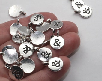 """2 Or More TierraCast Ampersand """"&"""" Charms Silver Antique Silver Plate Small """"And"""" Pendant Tierra Cast Lead Free Pewter You Collection (M18)"""