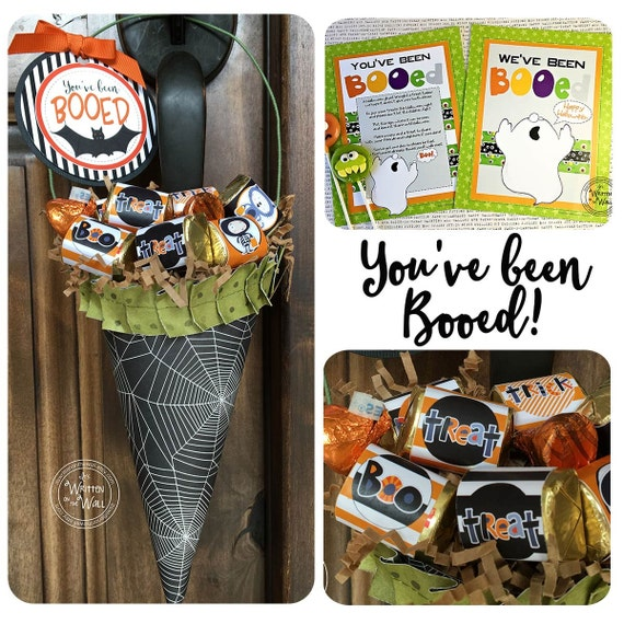 You've been Booed Printable and 8 Halloween Tags with Directions for a Sweet Treat Holder