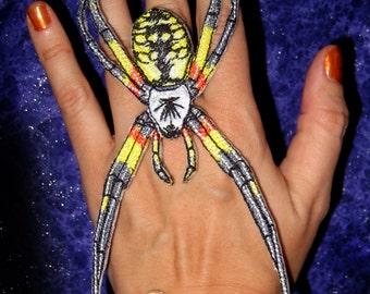 Golden Writing Orb Weaver Spider Argiope aurantia  Gothic Yellow garden spider Iron on Patch