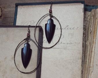 Huntress. Rustic Bohemian Tribal Vintage Arrowhead Primitive Hoop Drop Earrings.