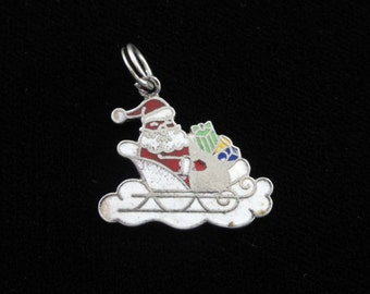 Santa Claus & Sleigh Sterling Silver Charm, Christmas Jewelry, Red White Enamel, Vintage Charm Pendant, Charm Bracelet