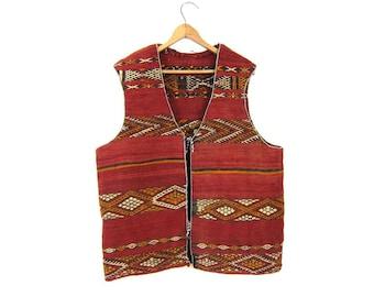 Vintage Wool KILIM Vest Ethnic Turkish Print Vest Thick Woven Wool Tribal Jacket Coat Red Yellow Ikat Print Mens Womens Heavy Wool Vest