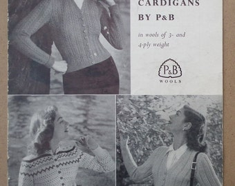 "Vintage 1940s 1950s Knitting Patterns Women's Cardigans 40s 50s original pattern booklet P&B No. 714 UK three designs 34"" 36"" bust M Medium"