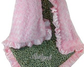 Pink Cheetah Minky Blanket Baby Blanket, Pink Minky Swirl, Satin Ruffle, Personalized Blanket, available in three sizes