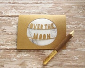 Over the Moon Card - Graduation Card - Moon Note Card - White Marble Stationery - Paper Cut Greeting Card - New Baby Card - Congratulations