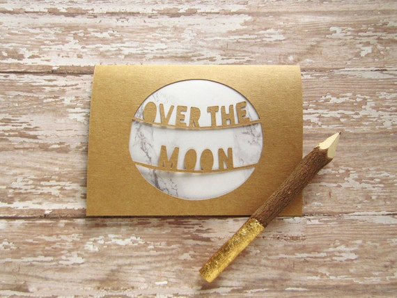 Over the Moon Card - Handmade Moon Note Card - White Marble Stationery - Paper Cut Out Greeting Card - New Baby Card - Congratulations Card