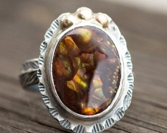 Fire Agate Sterling Ring - 14k Gold and Sterling Statement Ring - Size 9.5 Ring