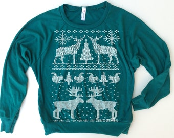 Womens CHRISTMAS Sweater - Screen Printed Tri-Blend Pullover - american apparel S M L (+ Color Options)
