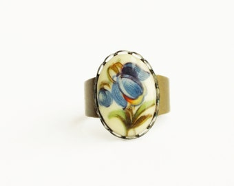 Blue Flower Ring Vintage Floral Cameo Ring Blue Ring Victorian Jewelry Bell Flower Jewellery Vintage Style Ring