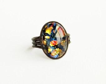 Black Opal Ring Vintage Harlequin Fire Opal Iridescent Glass Rainbow Opal Adjustable Ring