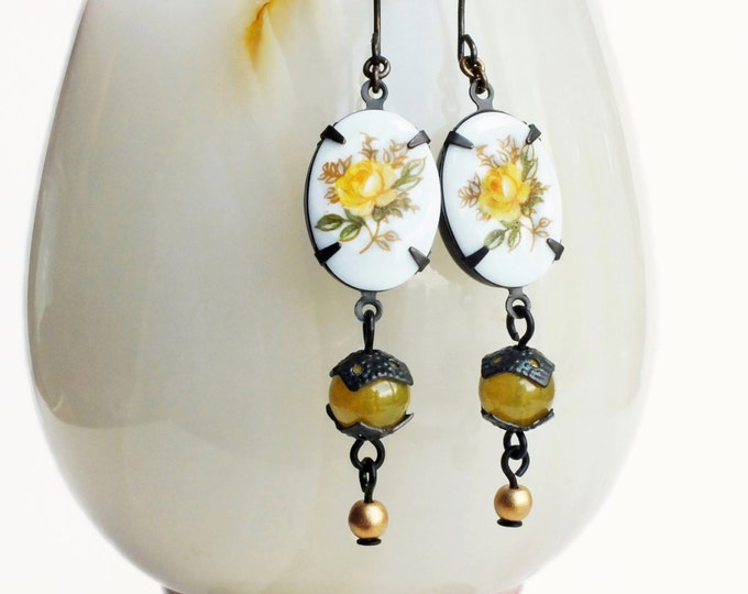 Yellow Rose Earrings Vintage Floral Cameo Earrings Yellow Olive Green Victorian Dangle Earrings Yellow Flower Jewelry