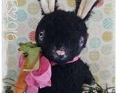 Primitive Mohair Bunny Rabbit Spring Tuck Doll Oreo