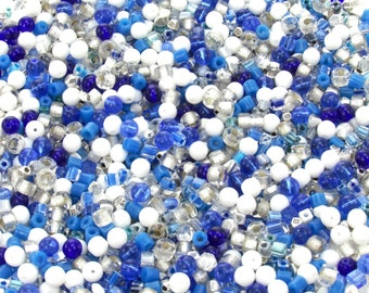 7mm to 4mm Silver and Blue Mix Different Shapes and Sizes Czech Glass Beads 30 Grams (AS19)