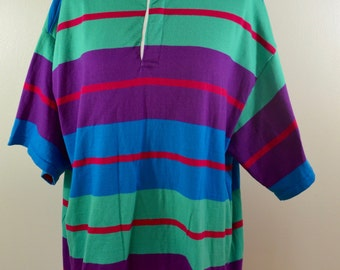 Vintage LE TIGRE oversize shirt or pajama night shirt size xl USA made 1980's