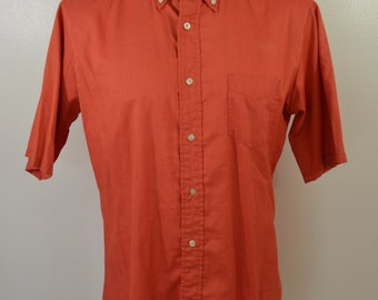 Vintage MCGREGGOR 1950's short sleeve shirt sz. Large USA made ORANGE