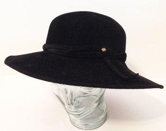 Vintage Borsalino Italy, Pure Wool Black Felt Hat