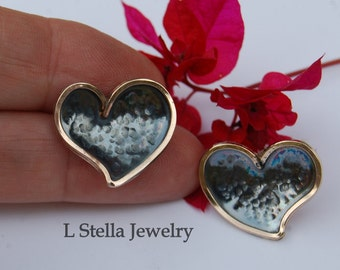 Heart Earrings Sterling with Gold Filled darkened hammered two tone