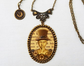 Unique Steampunk Necklace Collage Jewelry Mixed Media Phrenology Head Top Hat Watch Gears Brass Vintage German Unusual Original Unisex