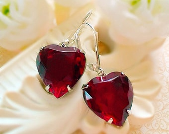 Red Heart Earrings - Victorian Earrings - Garnet Red Crystal Earrings - HEARTSONG Garnet
