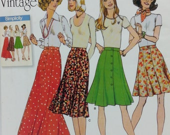 Simplicity J0211 Misses Skirt in Four Lengths Size 16-24 Vintage 1970s Reproduction New Pattern