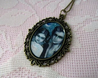 You Know I Love You - handmade cameo necklace