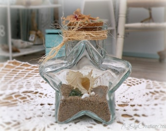 Starfish Glass Beach Bottle - Beach Decor - Beach Wedding
