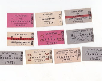 10 x Vintage Melbourne Train Tickets Australia for Altered Arts Mixed Media Collage