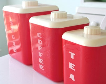 Lustro Ware Red and White Plastic Sugar Coffee Tea Canisters