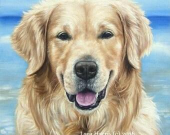 DOGUE : Golden Retriever . . . . .11x14 Original OIL Painting by Lara Cover Modern Art