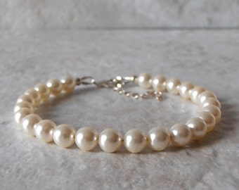 Wedding Jewelry, Cream Swarovski Pearl Bracelet, Simple Bridal Bracelet, Beaded Bracelet, Sterling Silver