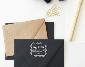 Triangle Square Wooden Address Stamp