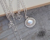 freshwater pearl necklace, bridal necklace, June birthstone, large pearl necklace, wedding gift