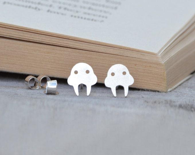 Walrus Earring Studs In Sterling Silver, Handmade In The UK
