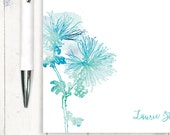 personalized notePAD - watercolor SPIDER MUM FLOWER - botanical stationery - stationary