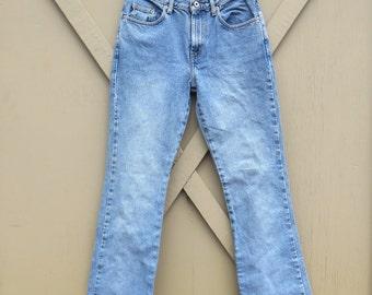 90s vintage High Waist Faded Medium Wash Denim Flare Jeans / Express Jeans