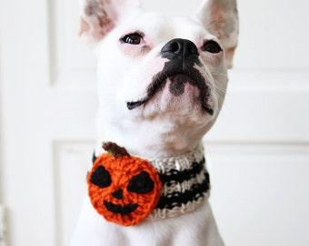 Custom Jack-O-Lantern Dog Neck Warmer - Dog Scarf - Pet Clothing - Dog Clothing - Dog Gift - Pumpkin Accessories - Halloween Dog Costume