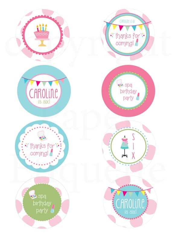 Spa Girls Birthday Makeup Party Cupcake Topper Tags And Stickers - Print your own stickers
