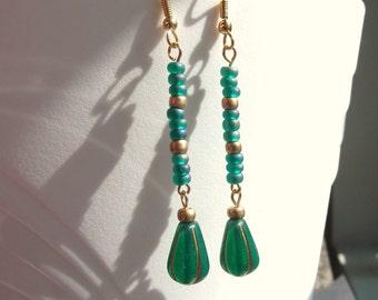 Egyptian Revival Emerald Teal Gold Long Dangle Earrings