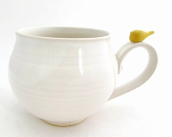 Made to Order Handmade Soup Mug // Latte Mug //Ginormous Mug in Creamy White with a Yellow Bird Thumbrest