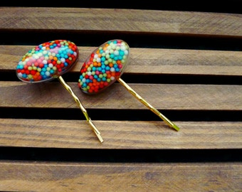 candy sprinkles colorful hair pins - tapered oval shape