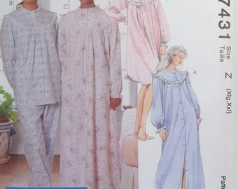 Misses' Pajamas McCall's 7431 Sleepwear Sewing Pattern Ruffled Nightgown Robe, Elastic Waist Pyjama Pants and Top, Nightshirt, CUT to Size S