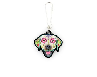 SALE Regularly 7.95 - Labrador in Yellow - Collar Charm / Key Chain / Zipper Pull - Day of the Dead Sugar Skull Dog