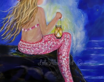 "Mermaid Art Print Mermaid Painting Print Mermaid Wall Art Ocean Fantasy Art Print Seascape ""Little Mermaids Light"" Leslie Allen Fine Art"